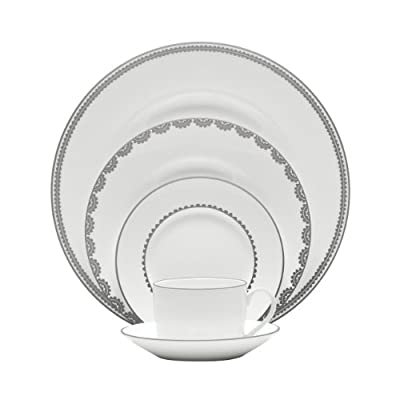 Vera Wang Wedgwood Vera Flirt 5-Piece Dinnerware Place Setting, Service for 1 - 5-Piece place setting - 1 dinner, 1 salad, 1 bread and butter, 1 teacup and 1 tea saucer Material: bone china Platinum banded flirt features modern scallop lace motif; Details on the inner verge of the accent plate, bread and butter and tea saucer adds a flirtatious touch of whimsy - kitchen-tabletop, kitchen-dining-room, dinnerware-sets - 41lIAXZrAgL. SS400  -