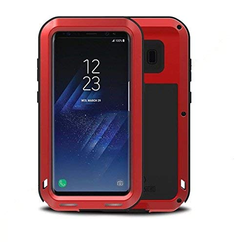 Galaxy S8 Case,LOVE MEI Outdoor Shockproof Dropproof Rainproof Aluminum Metal Bumper Silicone Cover Case for Samsung Galaxy S8(Red)