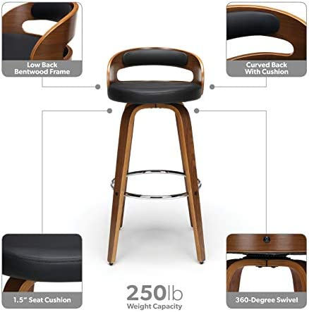 OFM 161 Collection Mid Century Modern 30 Low Back Bentwood Frame Swivel Seat Stool with Vinyl Back and Seat Cushion, in Walnut Black 161-WV30C-BLK