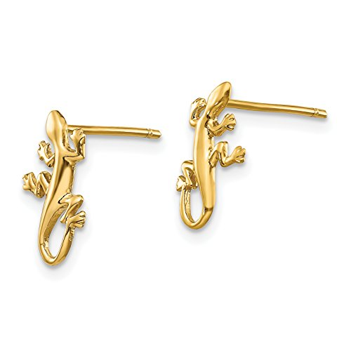 14k Yellow Gold Polished Gecko Post Earrings (0.4IN x 0.3IN)