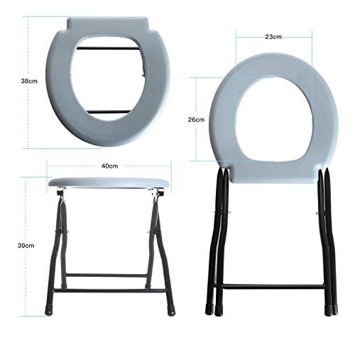 Odthelda Folding Commode Portable Toilet Seat Potty Commode Chair Steel Camping Toilet Seat by Odthelda (Image #2)