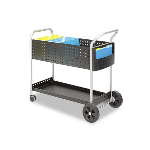 Scoot Mail Cart, One-Shelf, 22-1/2w x 39-1/2d x 40-3/4h, Black/Silver, Sold as 1 Each