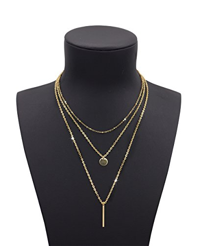 Geerier Layered Necklace Pendant Triangle