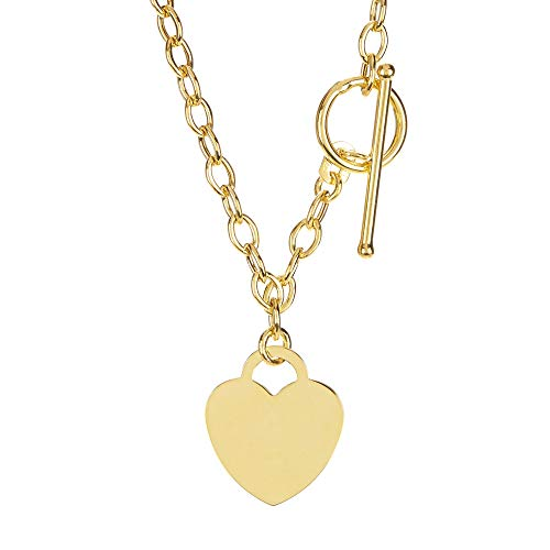 14k Yellow Gold Chain Oval Link Heart Necklace, 17