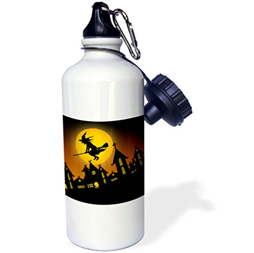 3dRose Spooky Halloween Town with Flying Witch-Sports Water Bottle, 21oz (wb_172236_1), 21 oz, Multicolored