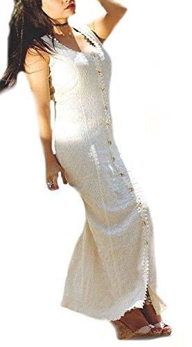 Strukturierte Durchgehend Alpacaandmore ökologische knöpfbares Maxikleid Pima Kleid Träger Biobaumwolle Sommerkleid Langes Damen Baumwolle Weißes z6E6qxawR