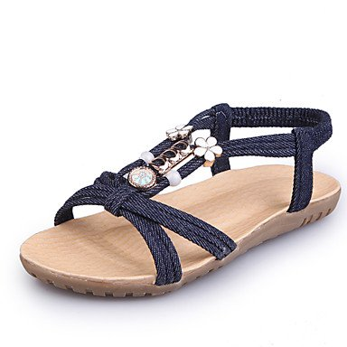 YFF Donna Sandali Estate Slingback Gladiator suole luce Denim outdoor casual tacco piatto perla di bordatura a piedi,Black,US6 / EU36 / UK4 / CN36