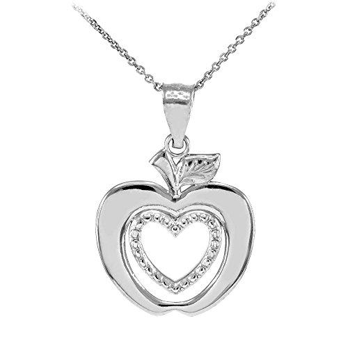 14k White Gold Apple - 14k White Gold Apple Heart Charm Pendant Necklace, 18