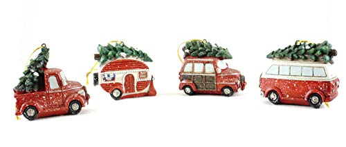 Gerson Christmas Vacation Vehicle Hauling Tree Hanging Ornaments (Set of ()