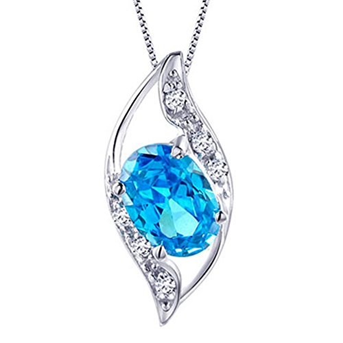 - Mabella Sterling Silver Simulated Blue Topaz 0.75ct Oval Cut Leaves Shape Pendant Necklace, 18