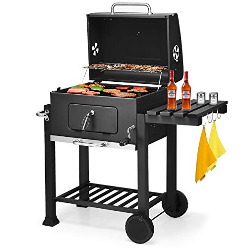 Giantex BBQ Charcoal Grill Portable Barbecue Grill for Lawn Picnic Backyard Balcony Outdoor Cooking with Wheels, Thermometer, Ash Tray, Air Outlet