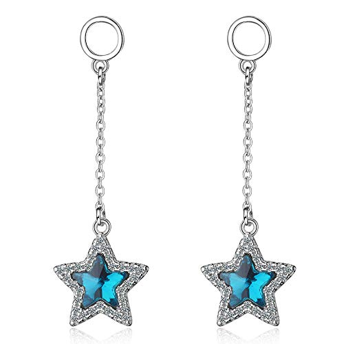 Orris Silver Sapphire Diamond Mounted Shinning Star Cute Dangle Drop Earrings For Women Girls