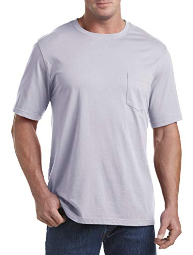 Harbor Bay by DXL Big and Tall Moisture-Wicking Pocket T-Shirt, Lilac Grey, 4XLT ()