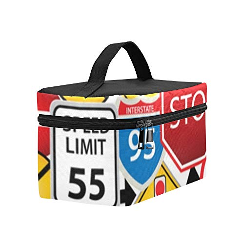 Boating Collage - Collage Road Traffic Signs Lunch Box Tote Bag Lunch Holder Insulated Lunch Cooler Bag For Women/men/picnic/boating/beach/fishing/school/work