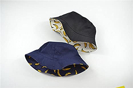ACVIP Women s Packable Summer Sun Protection Bucket Hat Cap Headwear  (Banana with Dark Blue Background) at Amazon Women s Clothing store  84008364a24d