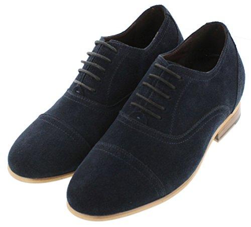 calto–g65022–7,1cm Grande Taille–Hauteur Augmenter Chaussures ascenseur–en nubuck bleu marine