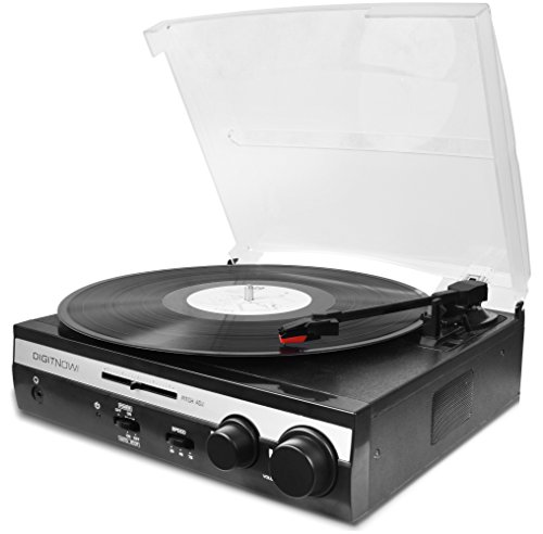 DigitNow! 3 Speed Stereo Tuning Turntable Player Variable Pitch Slider Control Adjustable with Built in Stereo Speaker System (Silver, Limited Edition) Pitch Control Turntables