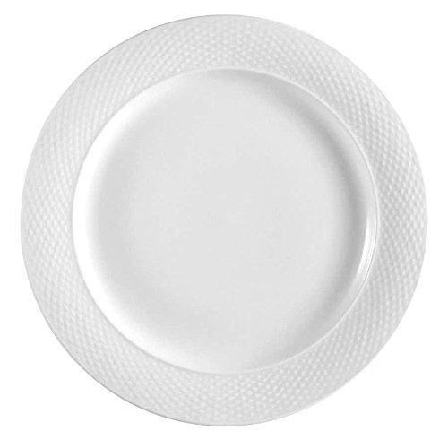 TableTop King BST-8 Boston 9 1/4 Super Bright White Embossed Porcelain Plate - 24/Case ()