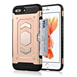 i Phone 7 Plus Wallet Case, Slim Armor Shockproof Heavy Duty Protection Dual Layer TPU&PC Hybrid Case Cover with Card Slot Car Mount Holder Thin Case for i Phone 8 Plus (5, iPhone 8 Plus)