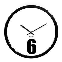 Wall Clocks Metal Circular Home Living Room Quiet Clock (Color : Black, Size : 12in)