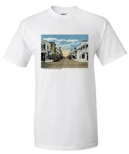 Key West, Florida - Duval Street West Scene (White T-Shirt - Street Florida Duval