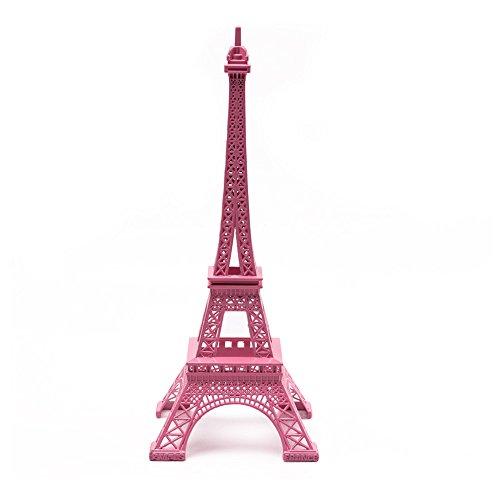 """Saideke Home 12.6"""" Tall Paris Pink Eiffel Tower Statue Sculpture Home Decor"""