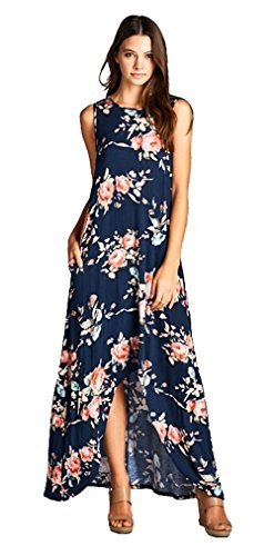 Longwu Women's Sleeveless Round collar Casual Floral Print Irregular Cropped Dress Navy Blue-M