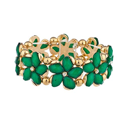 Lux Accessories Green Gold Tone Flower Floral Stretch Bracelet