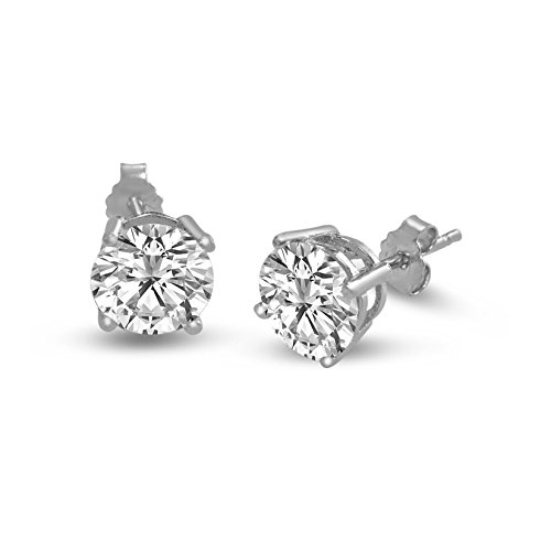 Brilliant Round Cut 3mm white Cubic Zirconia .925 Sterling Silver Basket Setting Stud Earrings
