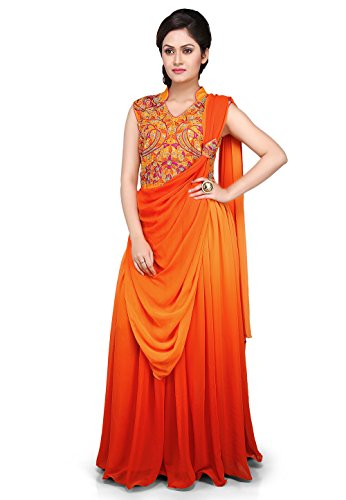Utsav Fashion Hand Embroidered Georgette Saree Style Gown in Orange and Mustard