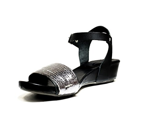 BUENO SHOES SENSE A527 OLDGUN zapatos de las sandalias del talón, talón, nueva colección de verano 2016 MUELLE DE PIEL NEGRO