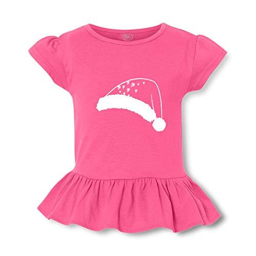 Christmas Chalk Santa Hat Short Sleeve Toddler Cotton Girly T-Shirt Tee - Hot Pink, Small]()