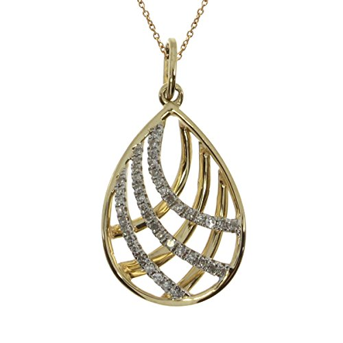 (14K Yellow Gold Pear-Shaped Round Diamond Cage Pendant (Chain NOT included))