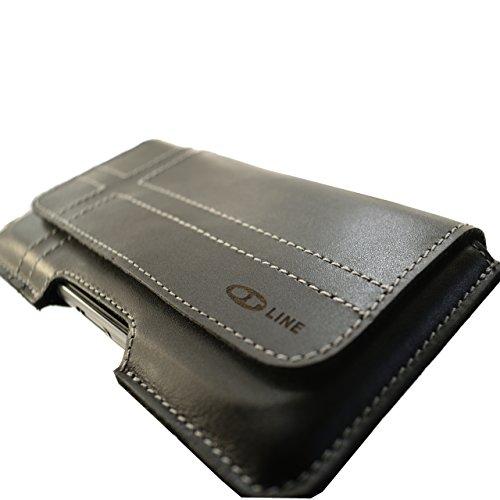 OrLine Echt Leder-Schutzhülle für Apple Iphone 5 S mit Magnetverschluss Halterung an Gürtel mit Klammer und Schlaufe Holster Case Handytasche Hülle Echt ledertasche Tasche Horizontal in der Farbe Schw