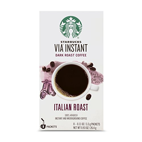 Starbucks VIA Instant Italian Roast Dark Roast Coffee, 8 Count (Pack of 1)
