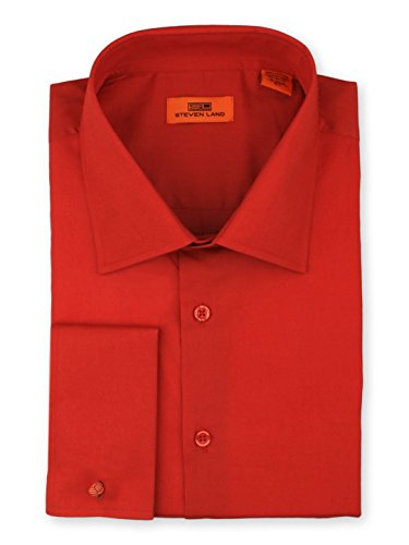 (Steven Land Men's Signature Solid Poplin Dress Shirt 100% Cotton French Cuff Also Available Big and Tall)