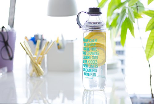 28 oz Inspirational Fruit Infuser Water Bottle with Measurements | Goal Marked Times For Measuring Your H2O Intake, BPA Free Tritan (calm cl aqua)