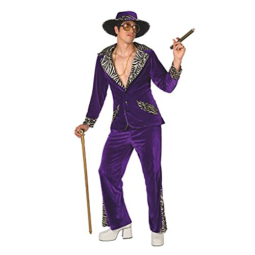 Mens Pimp Daddy Purple Velvet Costume - 3 Piece Quality Costume (Purple Morphsuit)