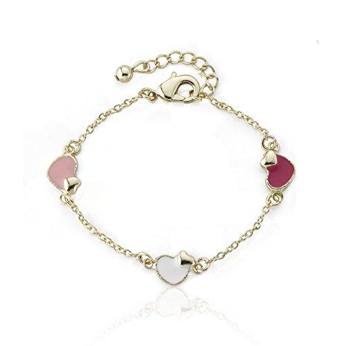 Sam K Multi Color Enamel Heart Station Bracelet ()