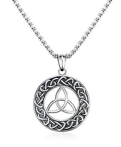 Blowin Mens Stainless Steel Trinity Knot Celtic Symbol Round Weave Pendant Necklace 24
