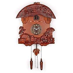 Polaris Clocks German Style Cuckoo Clock with Night Mode and Quartz Movement (Brown)