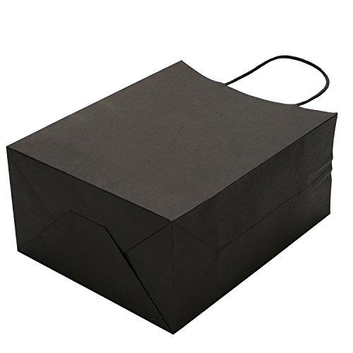 Road 10x5x13 Inches 100pcs Black Kraft Paper Bags, Retail Bags, Merchandise Bag, Gift Bag, Party Bag