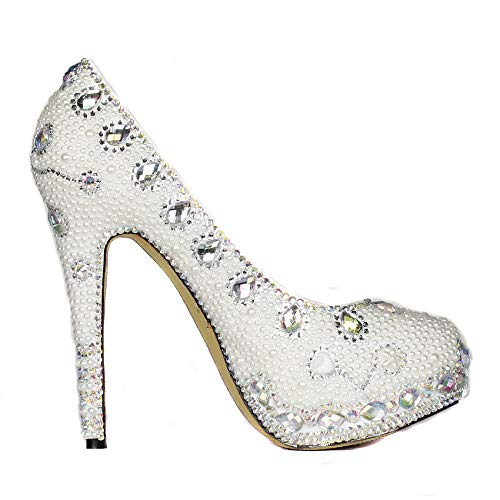 Morsiamen Fzhly Sandaalit Custom Häät Käsintehtyjä Vedenpitävä Kengät Alustan Huippuluokan Valkoinen Korkokengät Crystal Osapuoli Pearl Super HRdrRwq