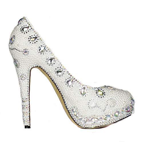 à Haut Rond à Talon Rond White Chaussures Bout xwRfq
