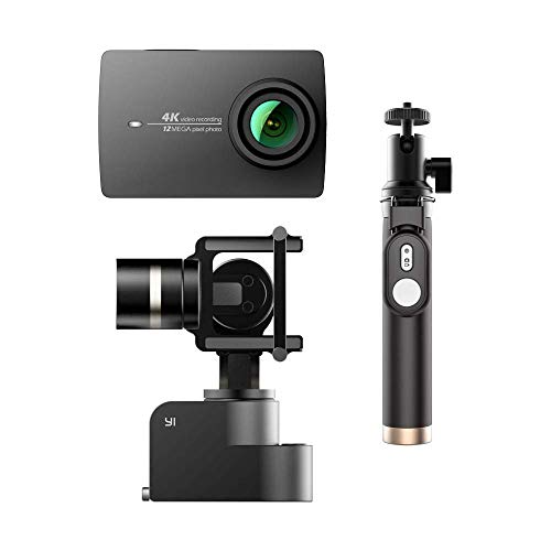 YI 4K Action Camera Bundled 3-Axis Gimbal Stabilizer Selfie Stick Bluetooth Remote Travel Case(US Edition) Night Black