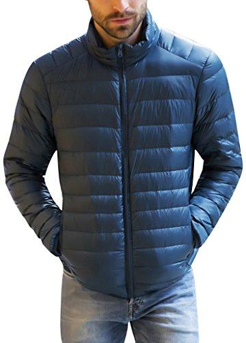 Herren Daunenjacke Winter Kälteschutz Sweatjacke Daunen männer Jacke Outdoor Reißvrschluss Stahlblau 3XL