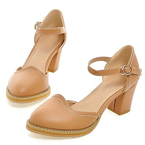 Classic Sandals Shoes Pumps Size Apricot Asian Heel Buckle Strap 38 Block Women's TAOFFEN FAqf58q
