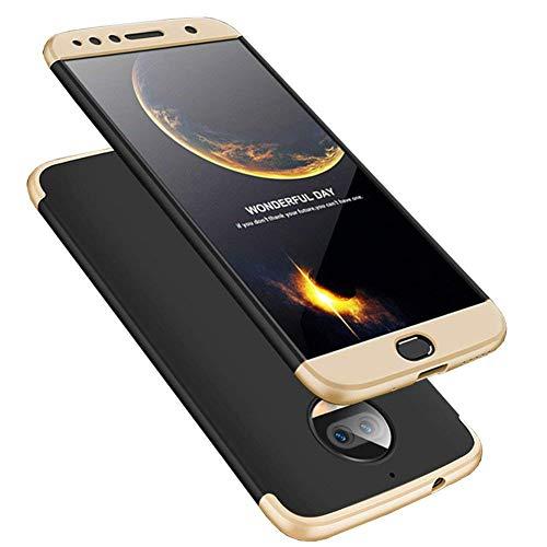 LEECOCO Motorola G5S Plus Case Ultra Thin 3 in 1 360 Degree Full Body Protective Case Premium Slim Shockproof Hard PC Plastic Anti-Scratch Bumper Cover for Motorola Moto G5S Plus 3 in 1 Black Gold AR