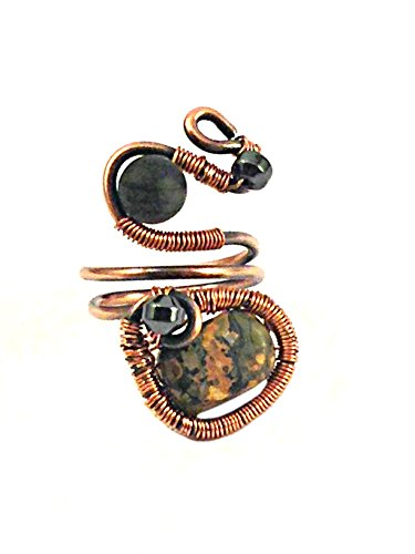 & Magnetic Hematite Antique Copper Wire Wrapped Ring (Black Jasper Ring)