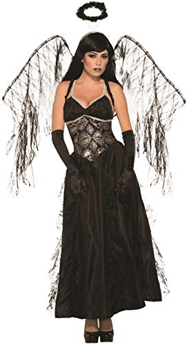 Ladies Full Length Long Dark Sexy Fallen Angel with Wings Halloween Fancy Dress Costume Outfit